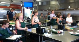 Members prepare flatbread at Centre for Food